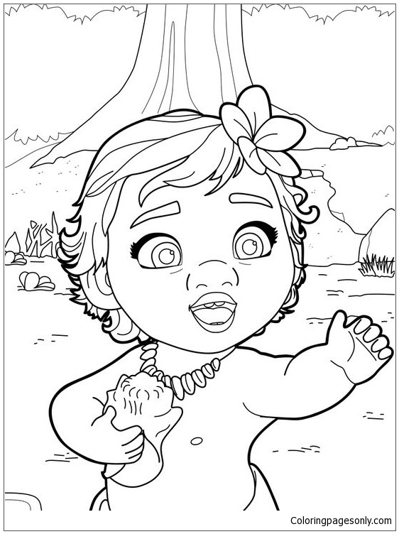 Baby Moana Princess Coloring Page Free Coloring Pages Online