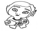 Baby Moana With Flowers Coloring Page