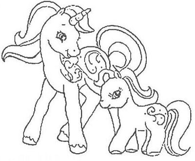Baby Pony And Mother Coloring Page