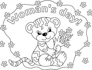 Baby Tiger Wishing Happy Women s Day Coloring Page