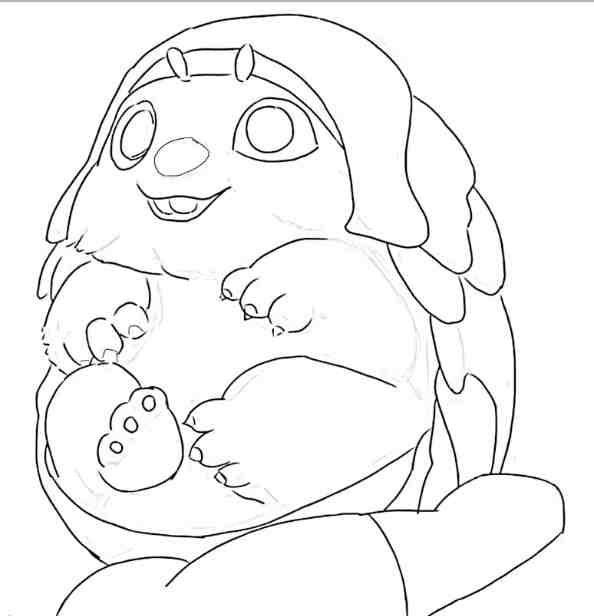 Baby Tuk Tuk on the hand Coloring Page