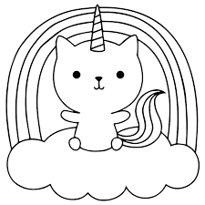 Baby unicorn cat on the cloud Coloring Pages