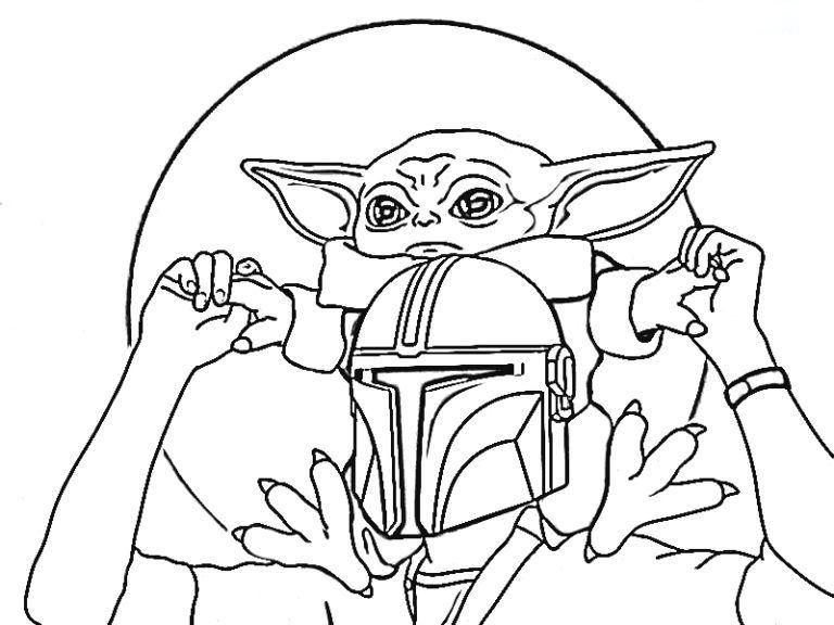 Baby Yoda and Starwars Warrrior Coloring Page
