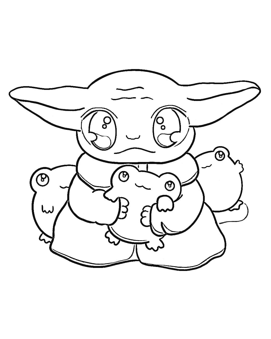 Baby Yoda and toys Coloring Page