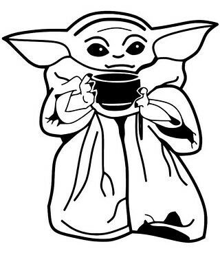 Baby Yoda Drink Coloring Pages