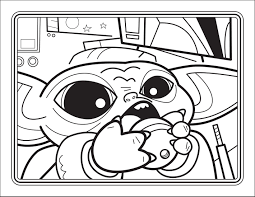 Baby Yoda drinks water Coloring Page