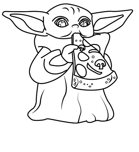 Baby Yoda Eat Cheese Coloring Pages