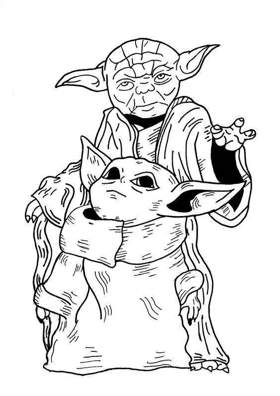 Baby Yoda Grandpa Coloring Page