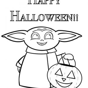 Baby Yoda Halloween Coloring Page