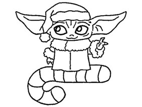 Baby Yoda In Christmas Coloring Page