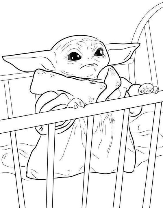 Baby Yoda In The Crib Coloring Pages