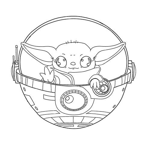 Baby Yoda in the ship Coloring Pages