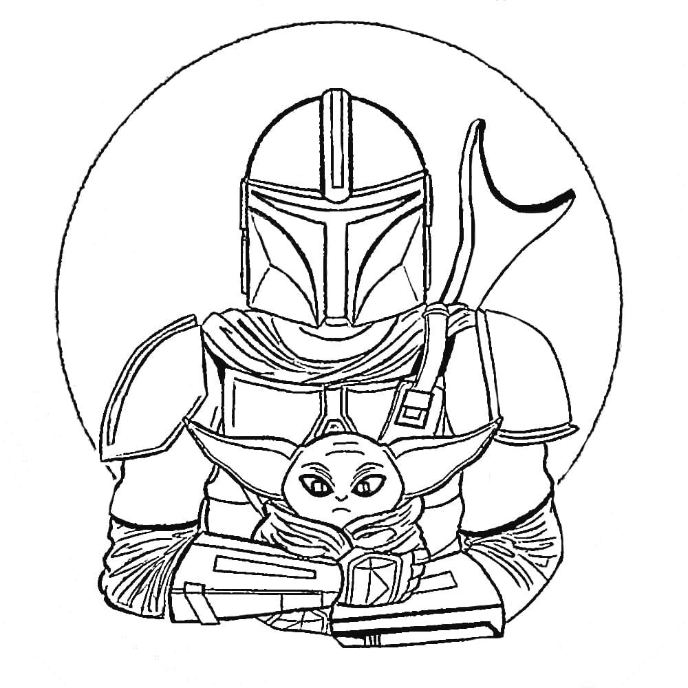 Baby Yoda Star Wars Universe Coloring Page