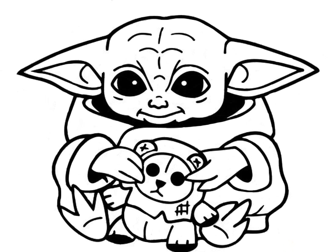 Baby Yoda with doll Coloring Page