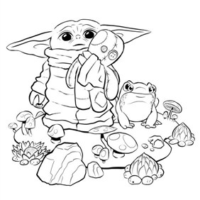 Baby Yoda With Frog Coloring Page