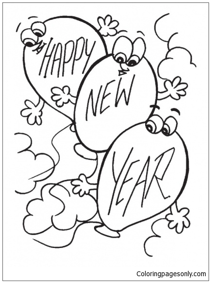 Balloons In The Sky With New Year Cheers Coloring Page
