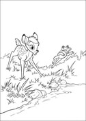 Bambi And Frog  from Bambi Coloring Page