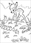 Bambi And The Pheasant  from Bambi Coloring Page