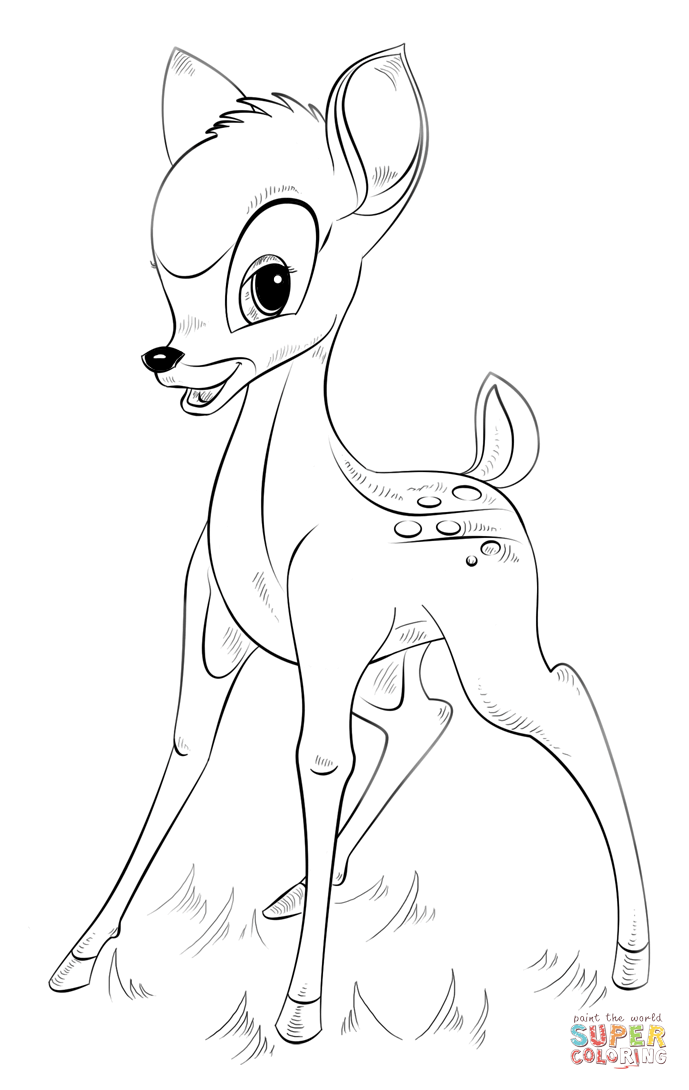 Bambi From Bambi Coloring Pages Cartoons Coloring Pages Free Printable Coloring Pages Online