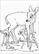 Bambi Faline And His Mom  from Bambi Coloring Page