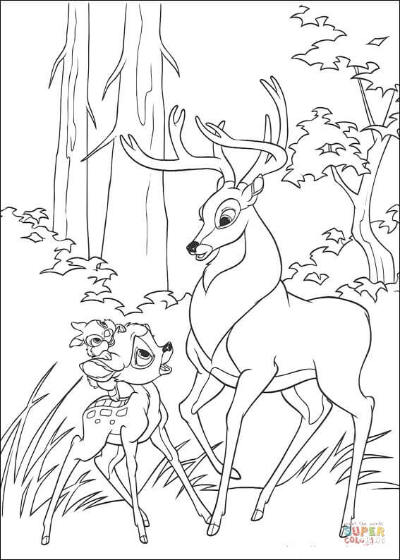 Bambi, Thumper And Roe  From Bambi Coloring Page