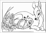 Bambi With His Mom  from Bambi Coloring Page