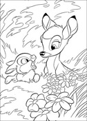 Bambi With Thumper In The Forest  from Bambi Coloring Page