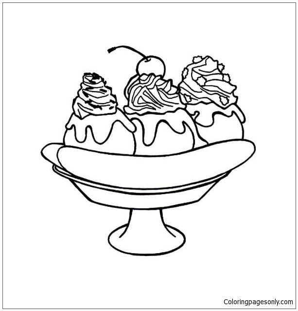 Banana Split For Dessert Coloring Pages Food Coloring Pages Free Printable Coloring Pages Online
