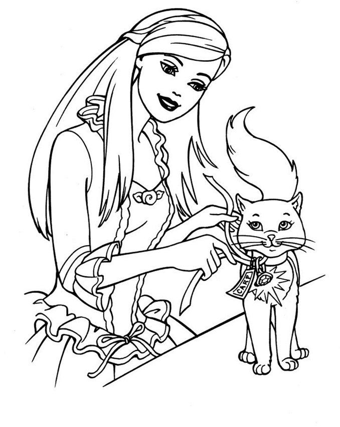 Barbie and cat Coloring Page