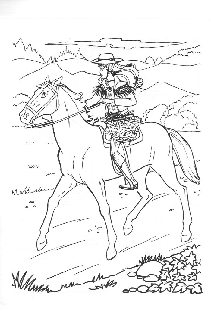 Barbie and her Horse go to the countryside Coloring Page