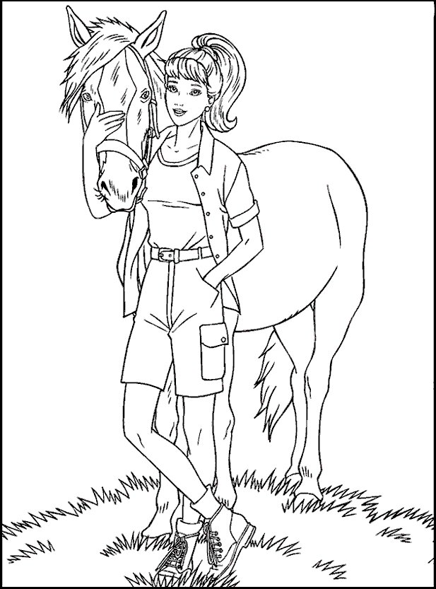 Barbie and her horse Coloring Page