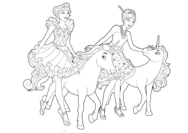 Barbie and her sister with their unicorn Coloring Page