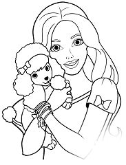 Barbie And Puppy Coloring Page