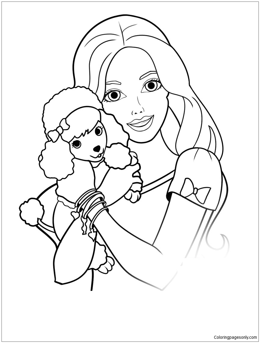 Barbie Coloring Pages Apk : Barbie and puppy coloring page free pages online