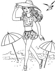 Barbie At The Beach Coloring Page