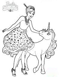 Barbie cuddles her unicorn Coloring Page