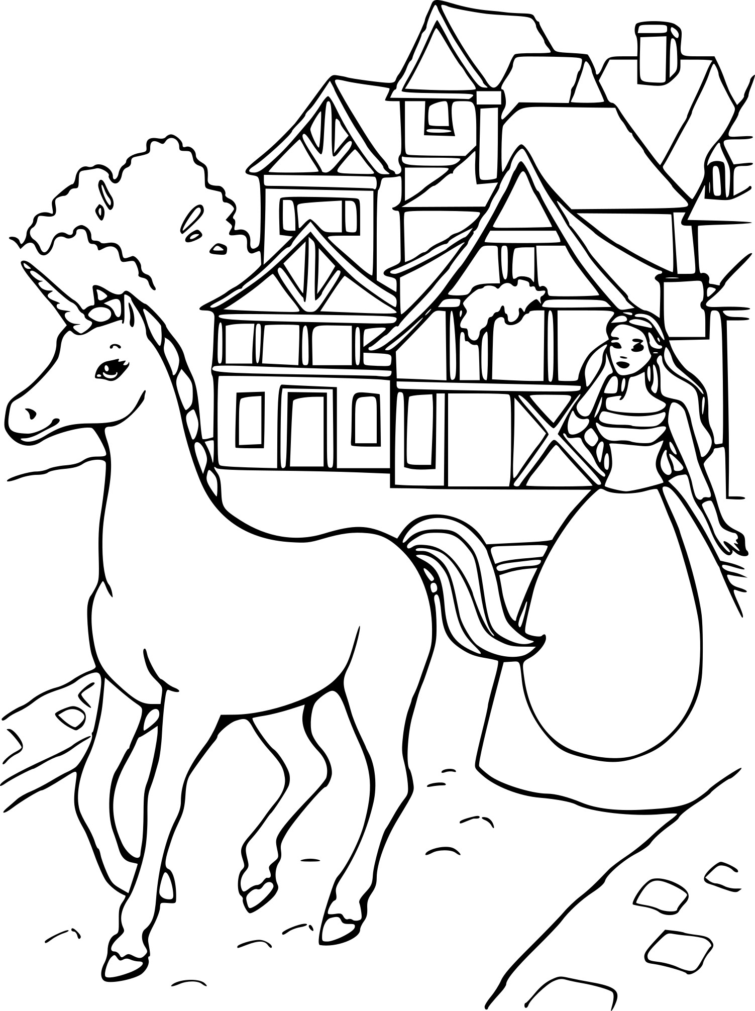 Barbie has a unicorn Coloring Page
