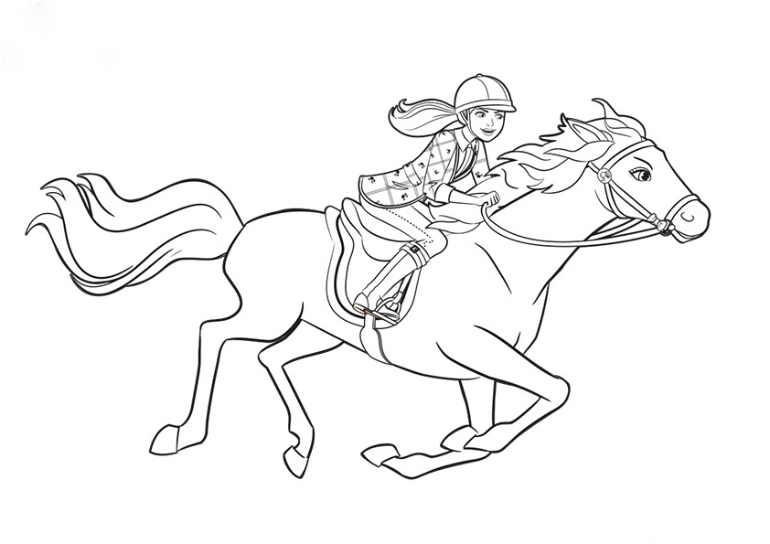 Barbie Horse is running Coloring Page