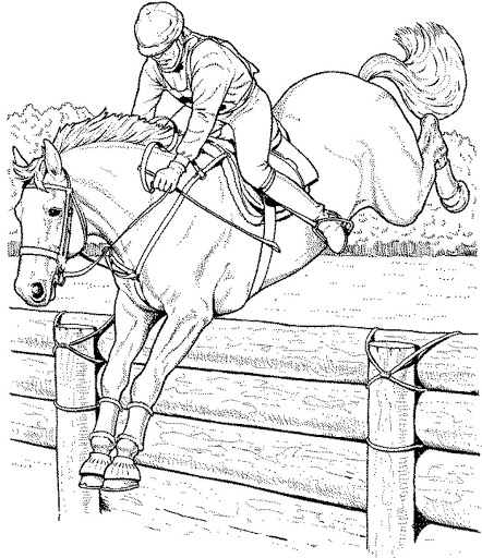 Barbie Horse jumps over obstacles Coloring Page