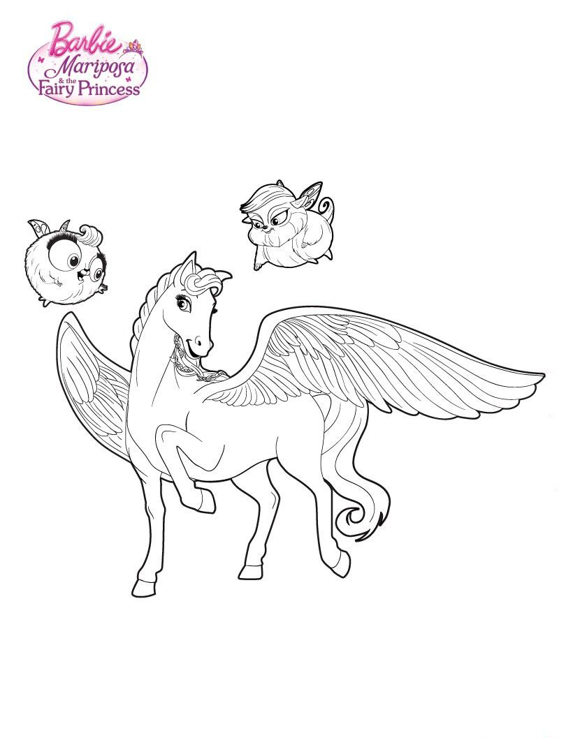 Barbie Horse Mariposa Coloring Page