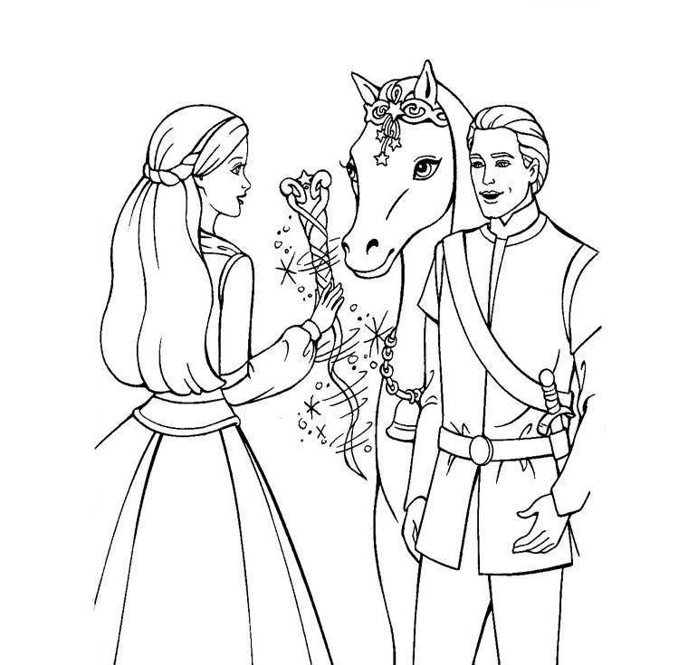 Barbie Horse, Princess and Prince Coloring Page