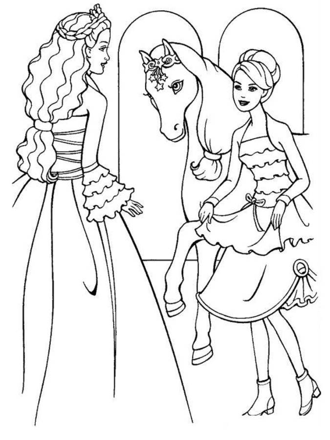 Barbie Horse wears ribbons Coloring Page