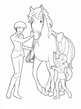 Barbie Horse With Baby Coloring Page