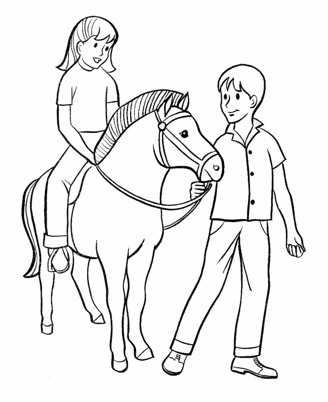 Barbie Horse with kids Coloring Page