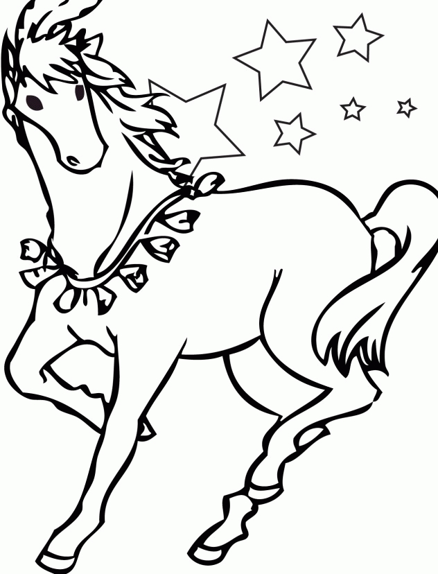Barbie Horse with Stars Coloring Page