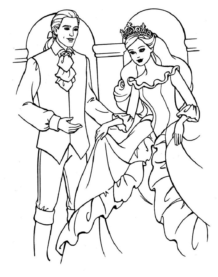 Barbie princess and prince Coloring Page