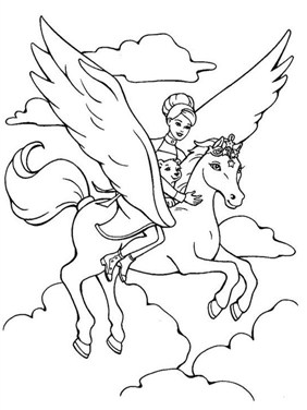 Barbie Rides Horse Coloring Page