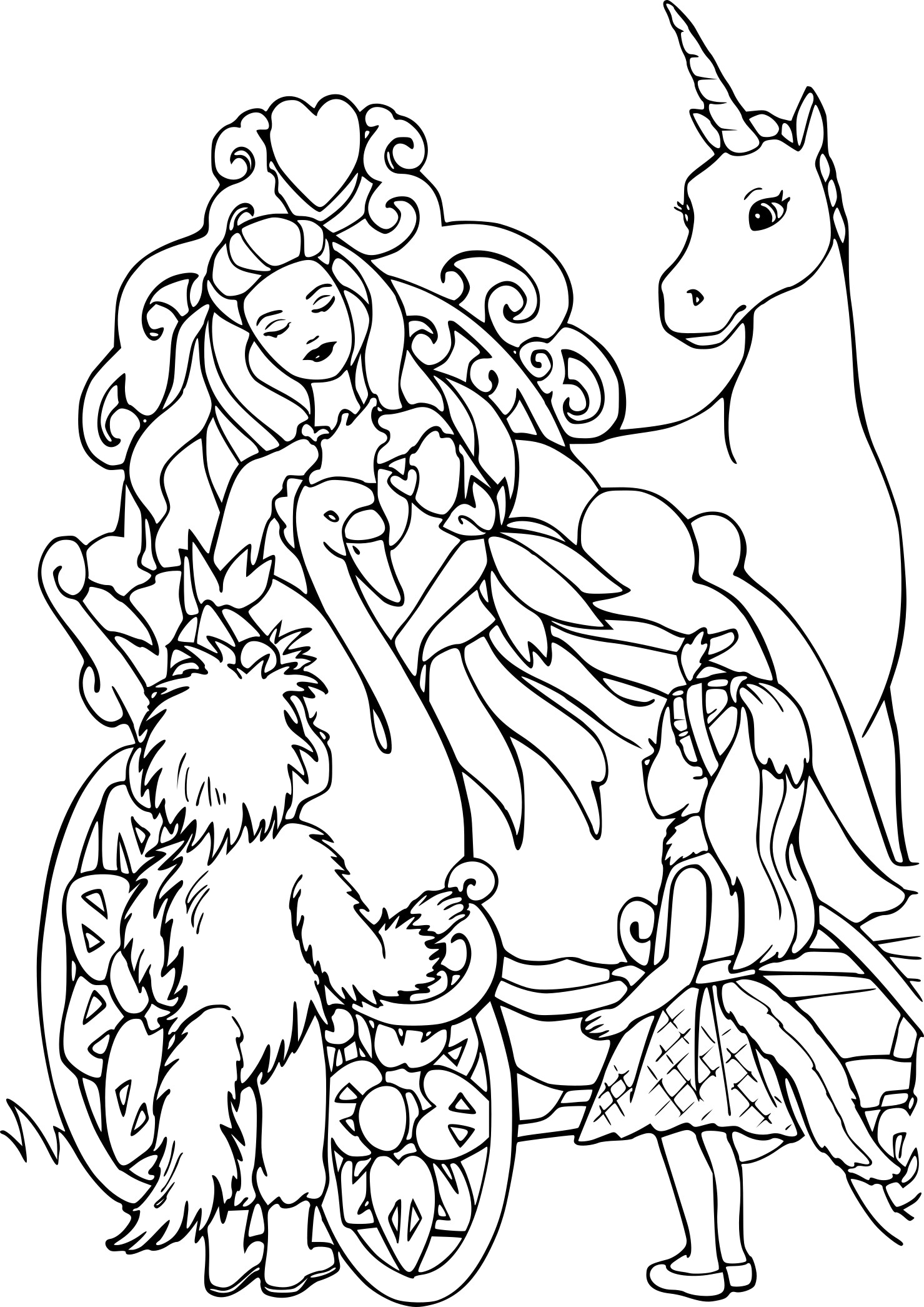 Barbie unicorn with princess Coloring Page
