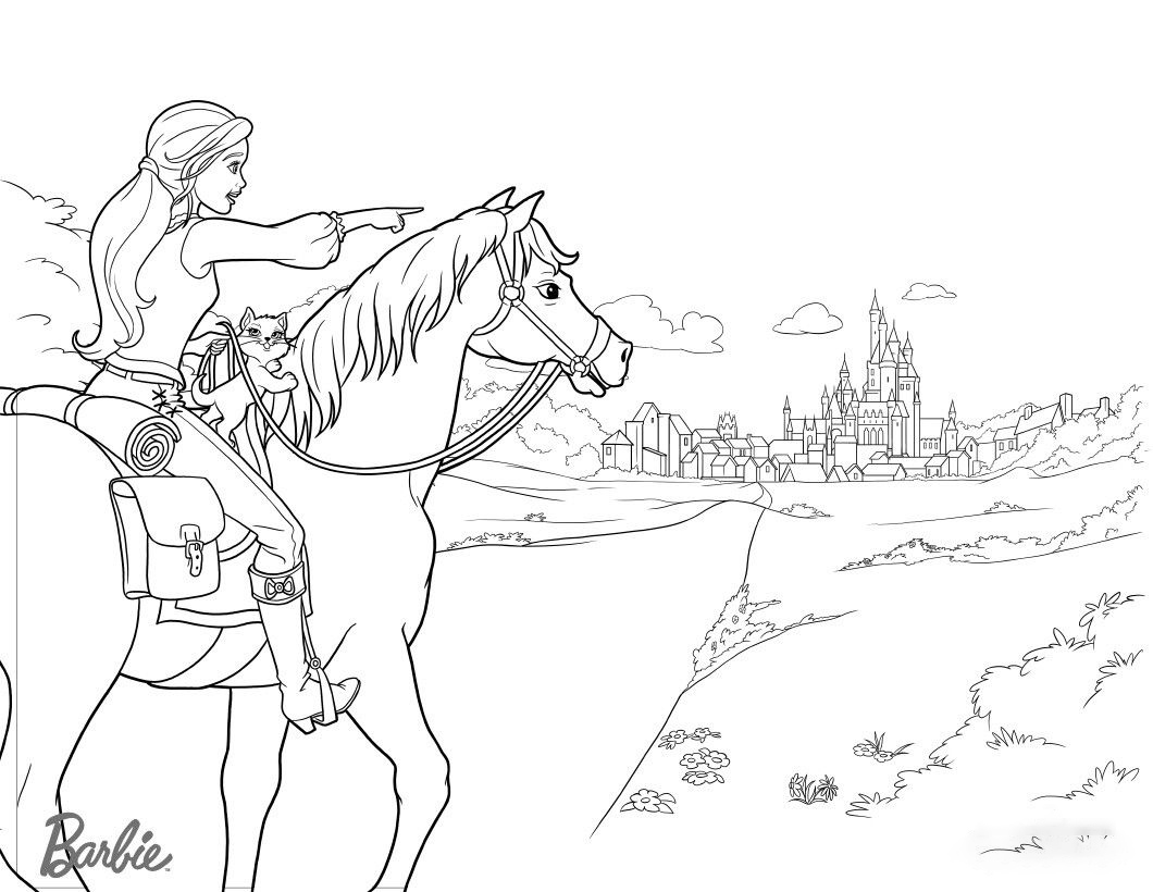 Barbie with her horse roads to the castle Coloring Page