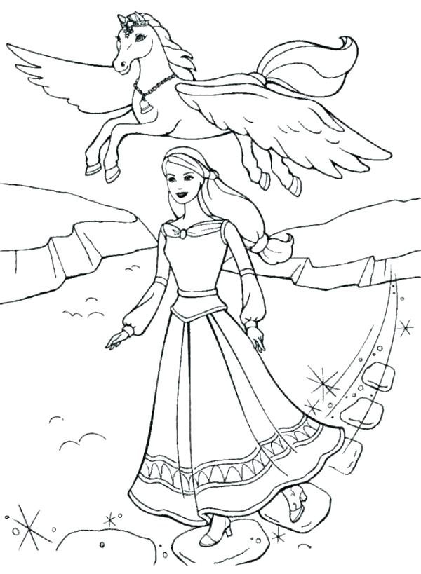 Barbie with Pegasus Coloring Page